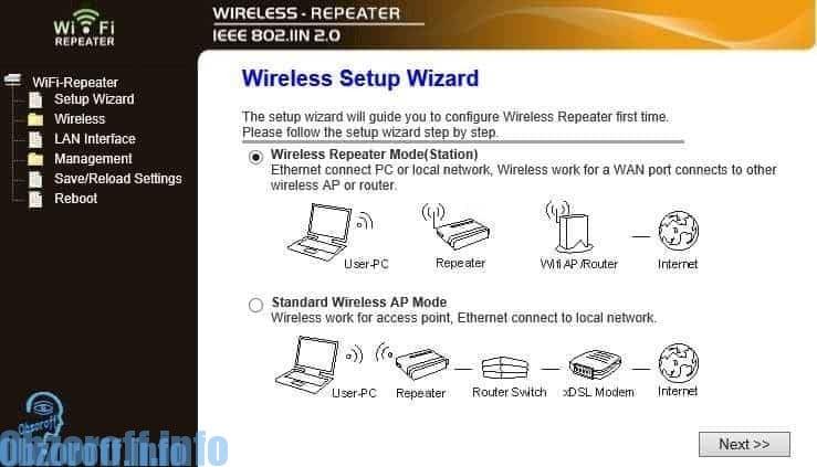 Settings Wi Fi repeater