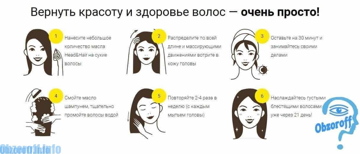 Instruksi penggunaan Head&Hair untuk rambut