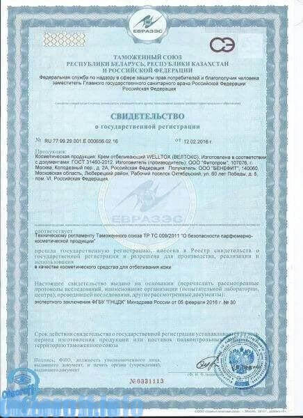 Zertifikat Welltox