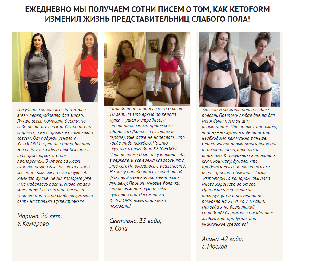 Reviews about KETOFORM - weight loss results