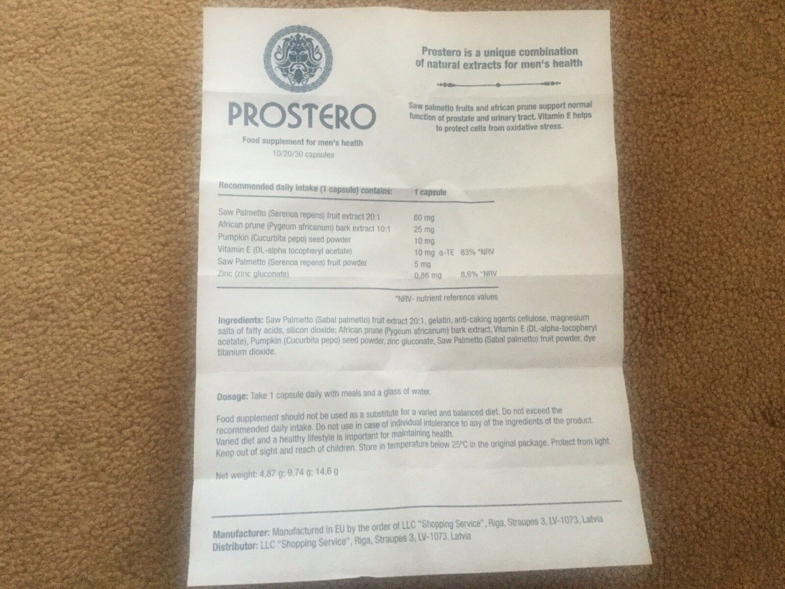 Instructions to the drug Prostero