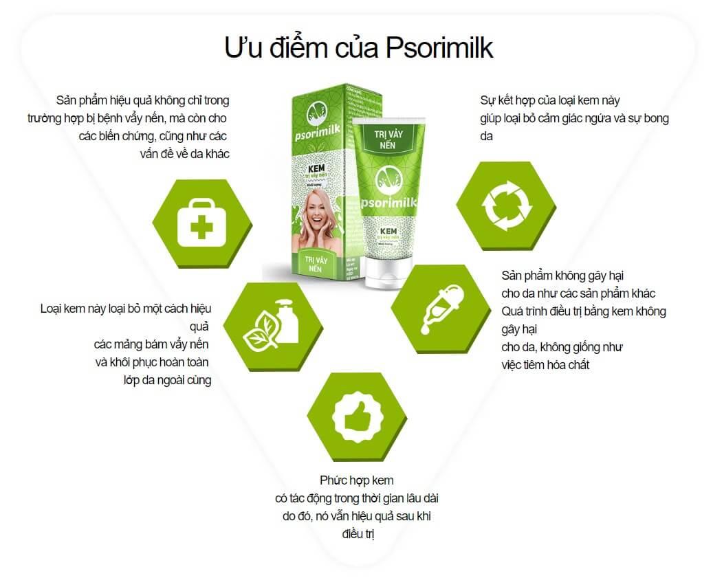 Đặc tính hữu ích của kem Psorimilk