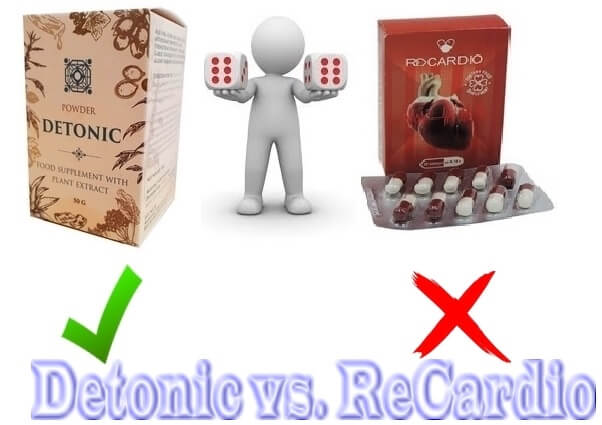Comparison of the properties of drugs: CardioActive, Detonic, Recardio