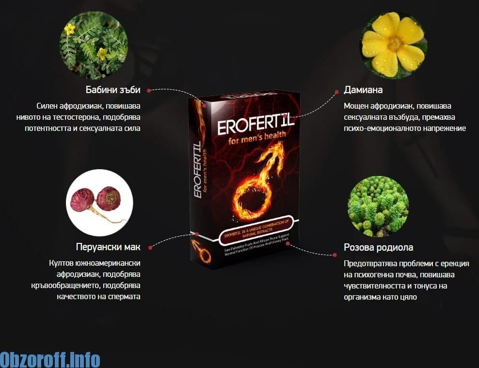 Erofertil: капсули Ерофертил за подобряване на ерекцията