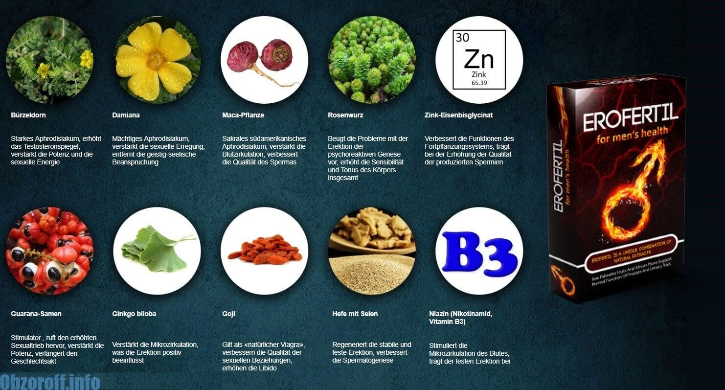 Zusammensetzung der Erofertil Tabletten